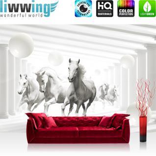 liwwing Vlies Fototapete 208x146cm PREMIUM PLUS Wand Foto Tapete Wand Bild Vliestapete - Tiere Tapete Pferde Tiere Fell Säulen Kugeln Schatten weiß - no. 2408