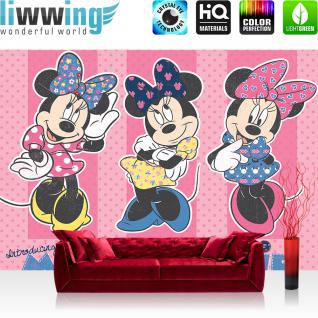 liwwing Vlies Fototapete 312x219cm PREMIUM PLUS Wand Foto Tapete Wand Bild Vliestapete - Disney Tapete Minnie & Me Kindertapete Comic Cartoon Minnie Mouse Schleife Mode rosa - no. 2386