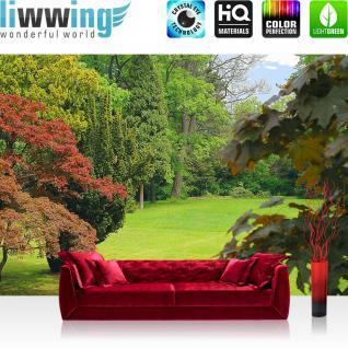 liwwing Vlies Fototapete 104x50.5cm PREMIUM PLUS Wand Foto Tapete Wand Bild Vliestapete - Wald Tapete Park Bäume Blätter Wiese grün - no. 2305