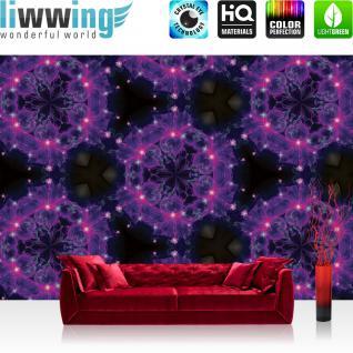 liwwing Vlies Fototapete 312x219cm PREMIUM PLUS Wand Foto Tapete Wand Bild Vliestapete - Kunst Tapete Lichter Rauch Muster Quallen Abstarkt lila - no. 1914