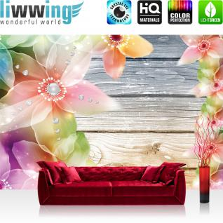 liwwing Vlies Fototapete 416x254cm PREMIUM PLUS Wand Foto Tapete Wand Bild Vliestapete - Holz Tapete Blumen Holz Holzwand Illustrationen Texturen bunt - no. 1808