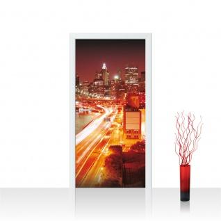 Türtapete - Skyline Straße New York Lightning | no. 570
