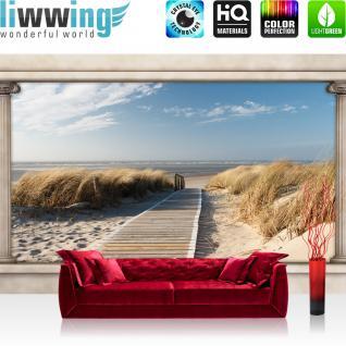 liwwing Vlies Fototapete 312x219cm PREMIUM PLUS Wand Foto Tapete Wand Bild Vliestapete - Strand Tapete Strand Himmel Wasser Steg Gräser Säulen Architektur beige - no. 1511
