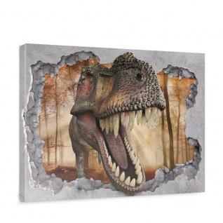 Leinwandbild Loch Kunst Mauer Dinosaurier Blick Ausblick Wald Herbst Baum 3D   no. 4334