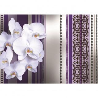 Fototapete Blumen Tapete Blüten Blätter Orchideen Kunst Ornamente Streifen lila | no. 3083 - Vorschau 1