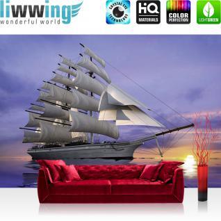 liwwing Fototapete 368x254 cm PREMIUM Wand Foto Tapete Wand Bild Papiertapete - Wasser Tapete Meer Segelboot Segelschiff Sonnenuntergang lila - no. 2835