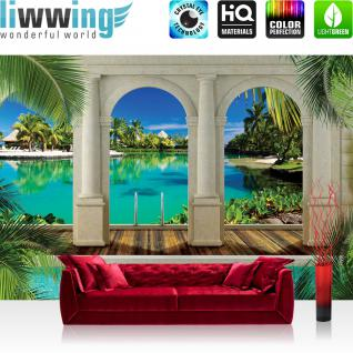 liwwing Fototapete 368x254 cm PREMIUM Wand Foto Tapete Wand Bild Papiertapete - Meer Tapete Palme Strand Hütte Steg Säulen Bogen türkis - no. 2850