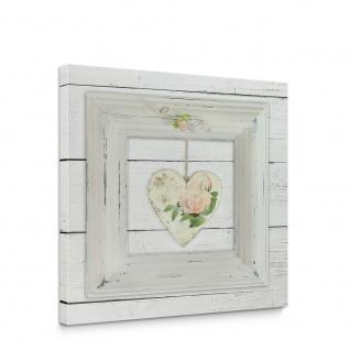 Leinwandbild Holzwand Herzen Blumen Pastellfarben   no. 5635