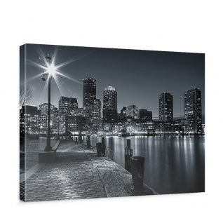 Leinwandbild Laterne Nacht New York Skyline Lichter Fluss   no. 843