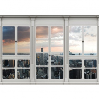 Fototapete New York Tapete Skyline, Fenster, Empire State Building, Hudson River natural | no. 3412