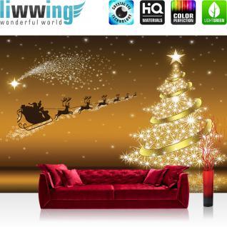 liwwing Fototapete 368x254 cm PREMIUM Wand Foto Tapete Wand Bild Papiertapete - Sternenhimmel Tapete Weihnachten Weihnachtsmann Rentier Schlitten Sterne gold - no. 2588