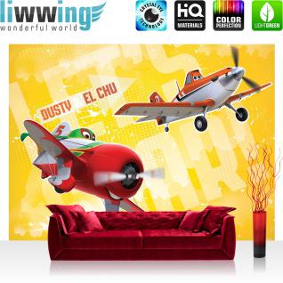 liwwing Vlies Fototapete 350x245 cm PREMIUM PLUS Wand Foto Tapete Wand Bild Vliestapete - Disney Tapete Disney - Planes - Dusty & El Chu Kindertapete Cartoon Flugzeuge Jungen gelb - no. 1051