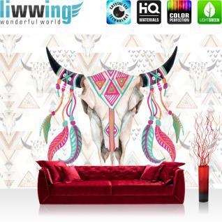 liwwing Vlies Fototapete 416x254cm PREMIUM PLUS Wand Foto Tapete Wand Bild Vliestapete - Illustrationen Tapete Schädel Büffel Federn Indianer Wild bunt - no. 3489