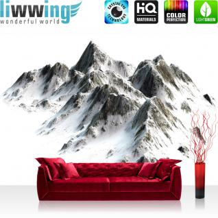 liwwing Vlies Fototapete 368x254cm PREMIUM PLUS Wand Foto Tapete Wand Bild Vliestapete - Berge Tapete Hochgebirge Gebirge Alpen Himalaya Schnee weiß - no. 3403