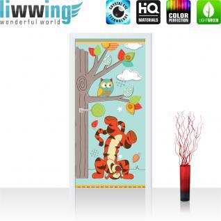 liwwing Vlies Türtapete 91x211 cm PREMIUM PLUS Tür Fototapete Türposter Türpanel Foto Tapete Bild - DISNEY Tigger Kindertapete Cartoon Tiger Eule Baum - no. 1122