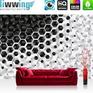 liwwing Fototapete 254x184cm PREMIUM Wand Foto Tapete Wand Bild Papiertapete - Texturen Tapete Polygone Dreiecke Kegel Pyramiden schwarz - weiß - no. 3456