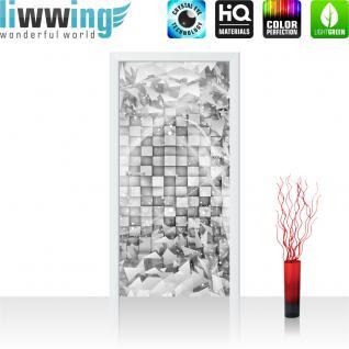 liwwing Vlies Türtapete 91x211 cm PREMIUM PLUS Tür Fototapete Türposter Türpanel Foto Tapete Bild - Abstrakt Dreieck Quadrat Würfel 3D Optik - no. 882