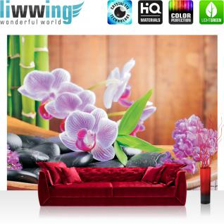 liwwing Vlies Fototapete 400x280 cm PREMIUM PLUS Wand Foto Tapete Wand Bild Vliestapete - Orchideen Tapete Steine Bambus Wellness bunt - no. 298