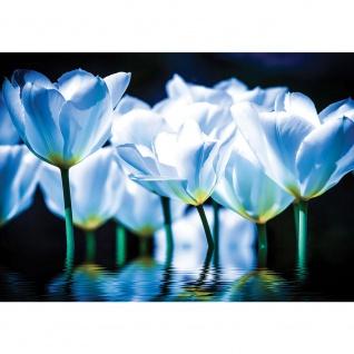 Fototapete Blumen Tapete Blüten Blätter Wasser Kunst blau   no. 2860