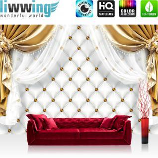liwwing Vlies Fototapete 104x50.5cm PREMIUM PLUS Wand Foto Tapete Wand Bild Vliestapete - Ornamente Tapete Gardine Vorhang Bordüre Blumen gold - no. 2052