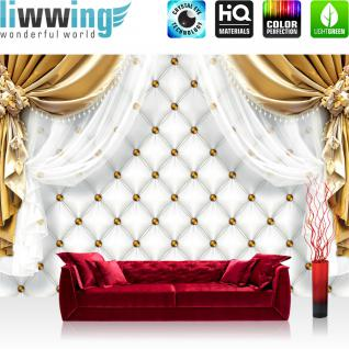 liwwing Vlies Fototapete 416x254cm PREMIUM PLUS Wand Foto Tapete Wand Bild Vliestapete - Ornamente Tapete Gardine Vorhang Bordüre Blumen gold - no. 2052