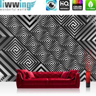 liwwing Vlies Fototapete 400x280 cm PREMIUM PLUS Wand Foto Tapete Wand Bild Vliestapete - Illustrationen Tapete Abstrakt Ornamente schwarz-weiß 3D - no. 398