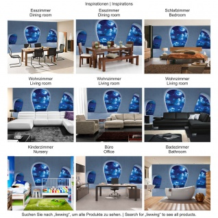 Fototapete Architektur Tapete Himmel Nacht Sterne Mond Wolken Meer Baustil Bauform blau   no. 2394 - Vorschau 3