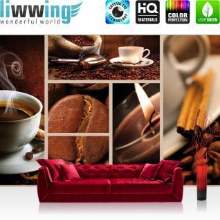 liwwing Vlies Fototapete 416x254cm PREMIUM PLUS Wand Foto Tapete Wand Bild Vliestapete - Kaffee Tapete Bohnen Tasse Kerze Kaffeebohnen braun - no. 2492