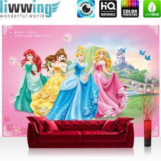 liwwing Vlies Fototapete 312x219cm PREMIUM PLUS Wand Foto Tapete Wand Bild Vliestapete - Kindertapete Tapete Disney Princesses Disney Arielle Aschenputtel Dornröschen pink - no. 2245