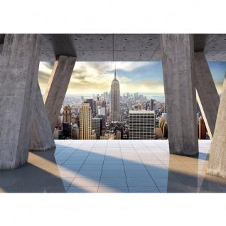 Fototapete New York Tapete Terrasse Balkon New York Skyline Tower Gebäude grau | no. 2816