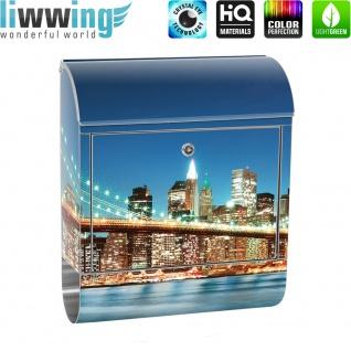 Edelstahl Wandbriefkasten XXL mit Motiv & Zeitungsrolle | New York City USA Amerika Empire State Building | no. 0179 - Vorschau 2