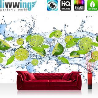 liwwing Vlies Fototapete 350x245 cm PREMIUM PLUS Wand Foto Tapete Wand Bild Vliestapete - Kulinarisches Tapete Limetten Wasser Blätter Tropfen Obst Frucht grün - no. 864
