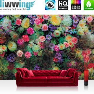 liwwing Vlies Fototapete 416x254cm PREMIUM PLUS Wand Foto Tapete Wand Bild Vliestapete - Blumen Tapete Blüten Blätter Ranke Ornamente Sommer bunt - no. 2035