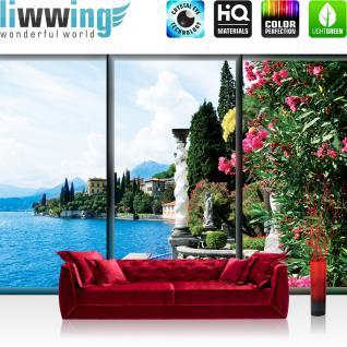 liwwing Vlies Fototapete 416x254cm PREMIUM PLUS Wand Foto Tapete Wand Bild Vliestapete - Italien Tapete Gadarsee Wasser Italien Blumen Blüten bunt - no. 3050