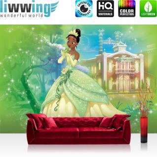 liwwing Vlies Fototapete 416x254cm PREMIUM PLUS Wand Foto Tapete Wand Bild Vliestapete - Kindertapete Disney - Küss den Frosch Tapete Tiana Frosch Tiana`s Palace Wald Wiese bunt - no. 3496