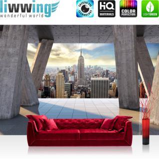 liwwing Vlies Fototapete 312x219cm PREMIUM PLUS Wand Foto Tapete Wand Bild Vliestapete - New York Tapete Terrasse Balkon New York Skyline Tower Gebäude grau - no. 2816