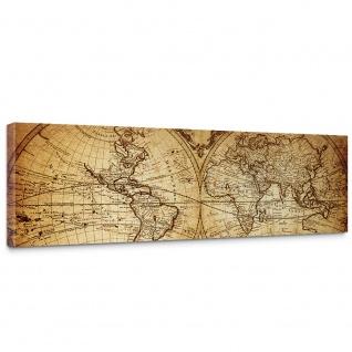 Leinwandbild Vintage World Map Weltkarte Vintage Atlas alte Karte alter Altas | no. 76