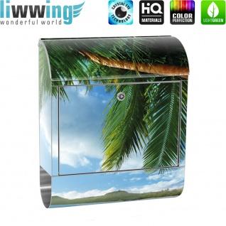 Edelstahl Wandbriefkasten XXL mit Motiv & Zeitungsrolle | Strand Meer Palmen Beach 3D Ozean Palme | no. 0004 - Vorschau 2