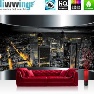 liwwing Fototapete 368x254 cm PREMIUM Wand Foto Tapete Wand Bild Papiertapete - Skylines Tapete Stadt Panorama Tower Lightning Rahmen schwarz - no. 632