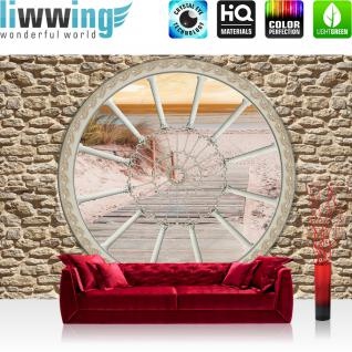 liwwing Fototapete 254x168 cm PREMIUM Wand Foto Tapete Wand Bild Papiertapete - Steinwand Tapete Fenster Steg Strand Sonnenuntergang Meer beige - no. 580