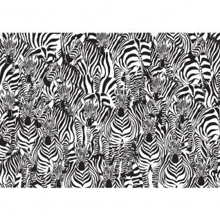Fototapete Gemälde & Kunstwerke Tapete Kunst Zebra Tier Modern Mosaik Design schwarz - weiß | no. 4340