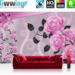 liwwing Vlies Fototapete 416x254cm PREMIUM PLUS Wand Foto Tapete Wand Bild Vliestapete - Blumen Tapete Blüten Blätter Kunst Rosen pink - no. 2618