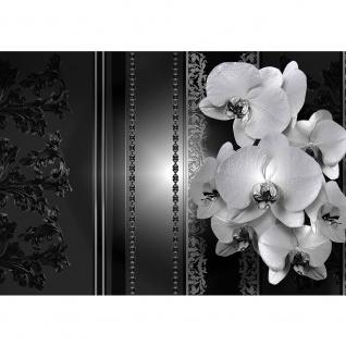 Fototapete Orchideen Tapete Blumen Blüten Orchideen Perlen Kunst schwarz - weiß | no. 2636
