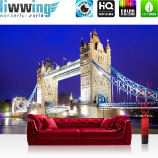 liwwing Vlies Fototapete 416x254cm PREMIUM PLUS Wand Foto Tapete Wand Bild Vliestapete - London Tapete London Tower Bridge City Miasto Skyline blau - no. 1221