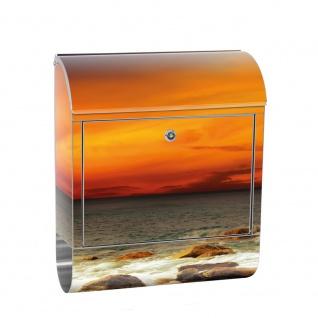 Edelstahl Wandbriefkasten XXL mit Motiv & Zeitungsrolle   Sonnenaufgang Strand Meer Felsen Sunset   no. 0060