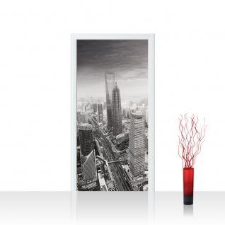 Türtapete - Black and White Shanghai Sunset Skyline Skyline Shanhai Wolkenkratzer   no. 49