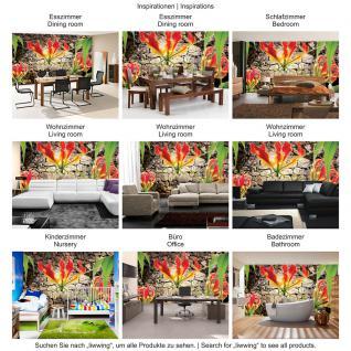 liwwing Vlies Fototapete 152.5x104cm PREMIUM PLUS Wand Foto Tapete Wand Bild Vliestapete - Blumen Tapete Blume Steinmauer Steine orange - no. 1332 - Vorschau 5