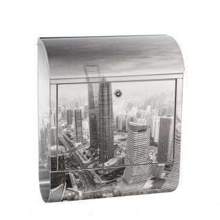 Edelstahl Wandbriefkasten XXL mit Motiv & Zeitungsrolle | Skyline Shanghai Wolkenkratzer Hochhäuser | no. 0049
