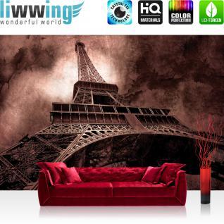 liwwing Vlies Fototapete 400x280 cm PREMIUM PLUS Wand Foto Tapete Wand Bild Vliestapete - Frankreich Tapete Eiffelturm Paris Wolken Vintage anthrazit - no. 644