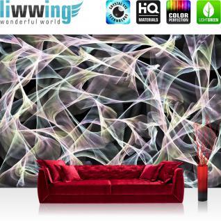 liwwing Vlies Fototapete 300x210 cm PREMIUM PLUS Wand Foto Tapete Wand Bild Vliestapete - 3D Tapete Abstrakt Streifen Bogen Design Kunst Moderne 3D weiß - no. 805